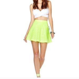 Nasty Gal Sequin Lime Skirt NWT